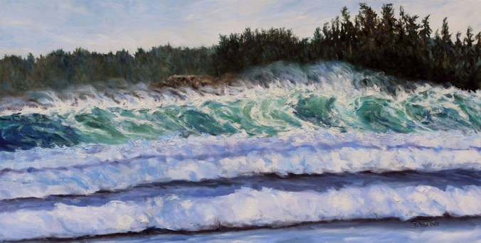Sea and Sun Cox Bay Tofino BC 24 x 48 inch oil on canvas by Terrill Welch July 15 2016 IMG_7138