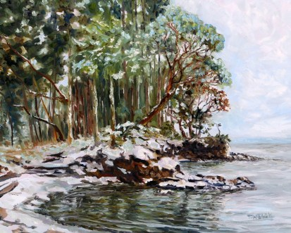 oyster-bay-mayne-island-bc-with-fresh-snow-16-x-20-inch-oil-on-canvas-by-terrill-welch-december-12-2016-img_7276