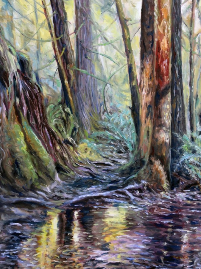 large west coast forest oil painting by Canadian contemporary artist Terrill Welch