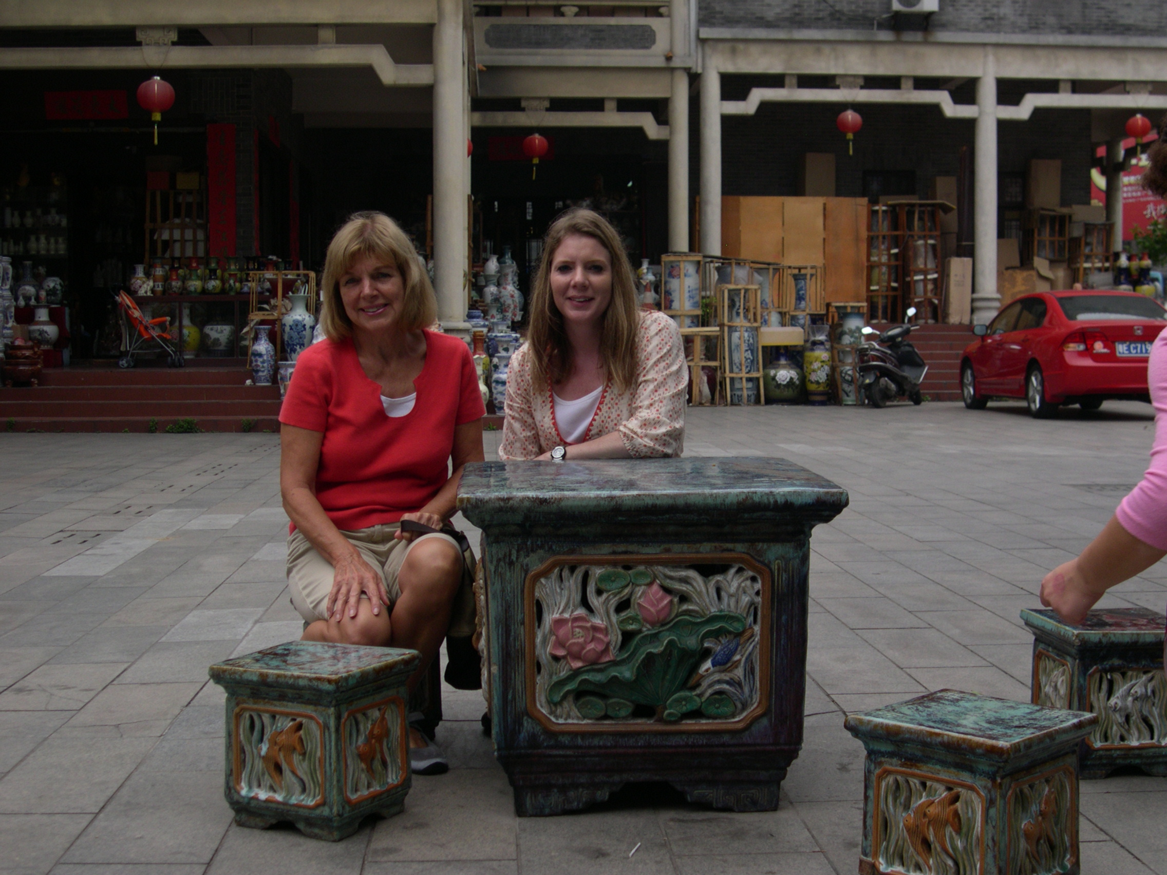 my mom and I at the Foshan pottery market