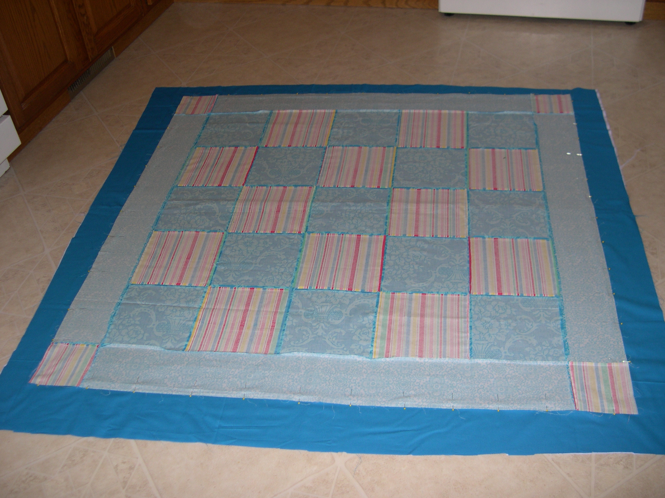 basted picnic quilt