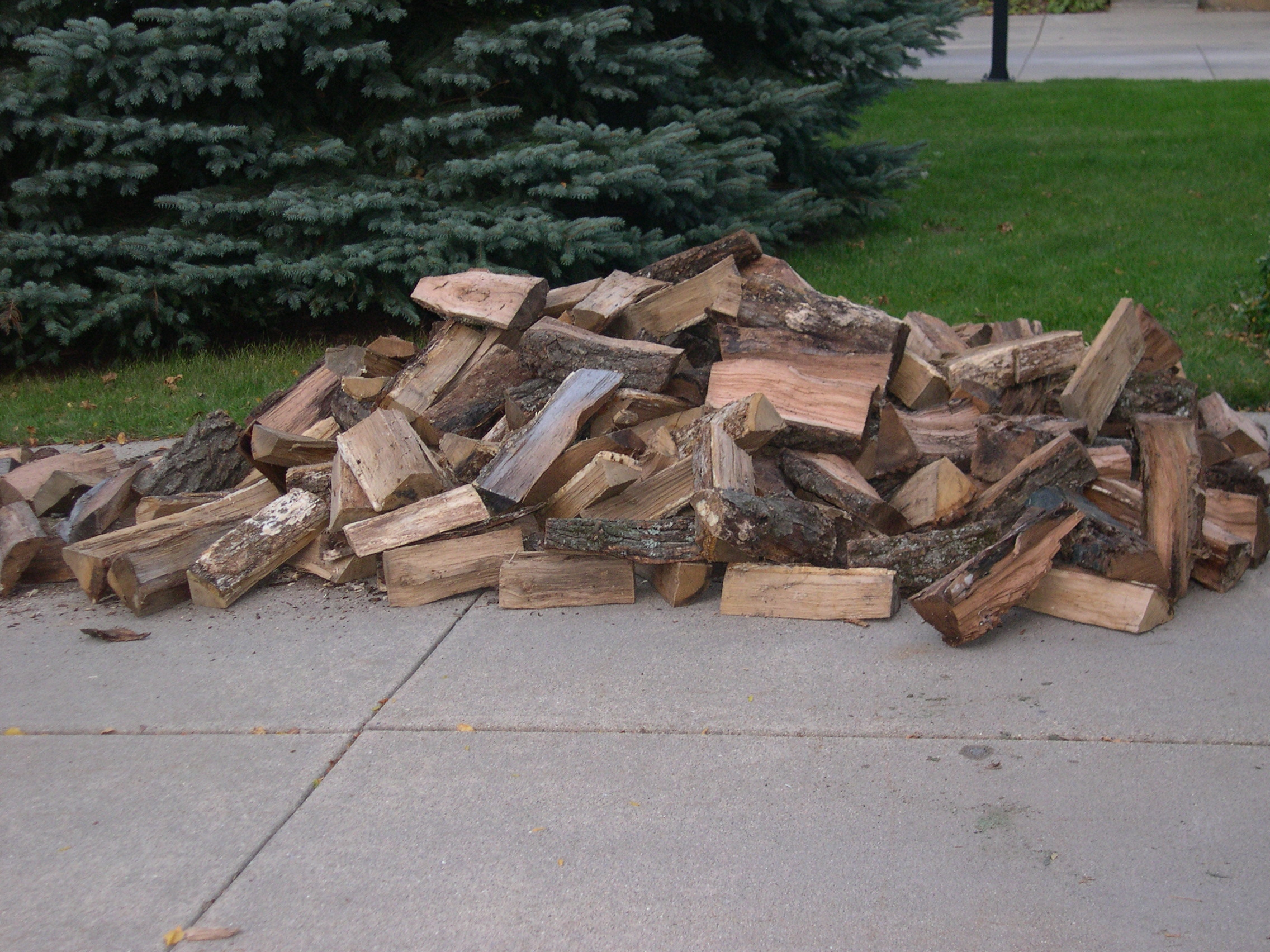 firewood on driveway