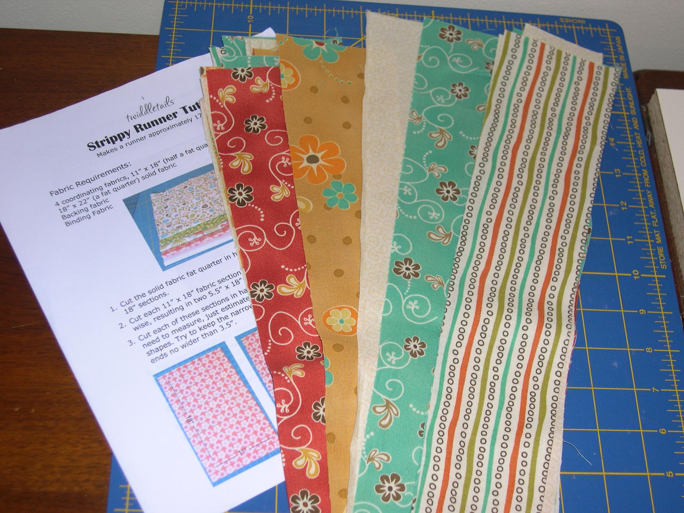 fabric strips for table runner