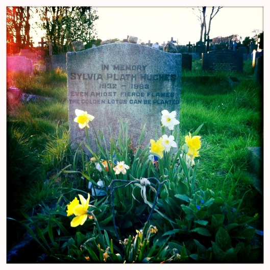 Sylvia Plath's grave at sunset, Heptonstall, West Yorkshire