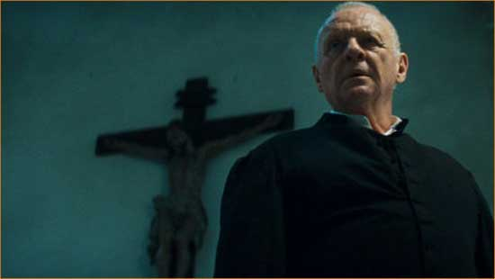 "Father Trevant (Anthony Hopkins) prepares to lay the spiritual beatdown in ""The Rite""."