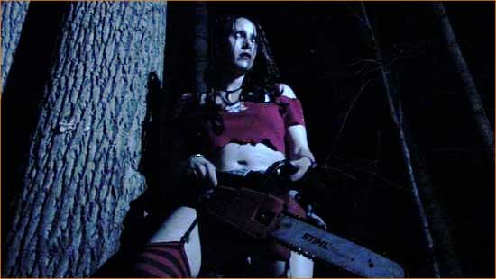 She is the danger that bumps in the night: Chainsaw Sally (April Monique Burril).
