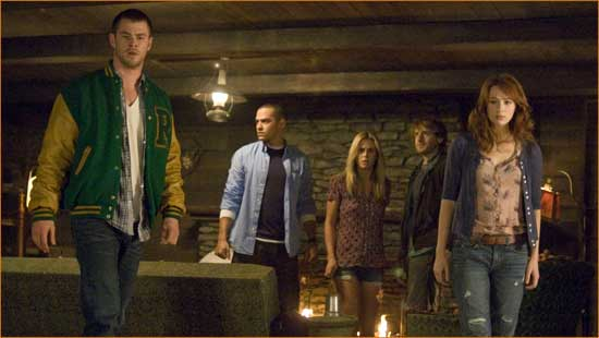 """The gang's all here in """"The Cabin in the Woods""""."""