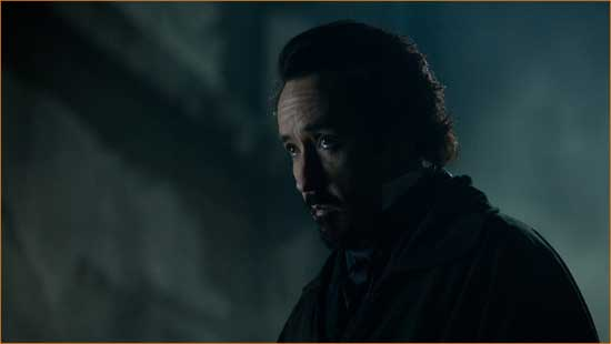 "Poe (John Cusack) ponders once upon a midnight dreary what went wrong with ""The Raven""."