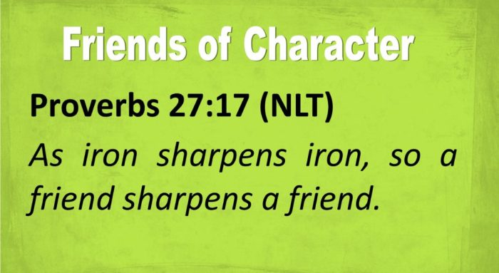 Proverbs 27:17 (NLT) As iron sharpens iron, so a friend sharpens a friend.