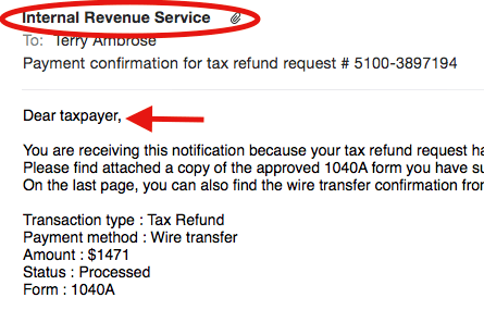 The IRS Payment Confirmation email — a closer look