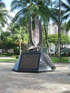 At the park adjacent to Hale Koa and Ft. Derussy in Waikiki, a memorial to Japanese Americans that served...