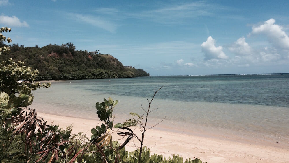 At this point, the beach may not be named, but offshore is the Anini Channel