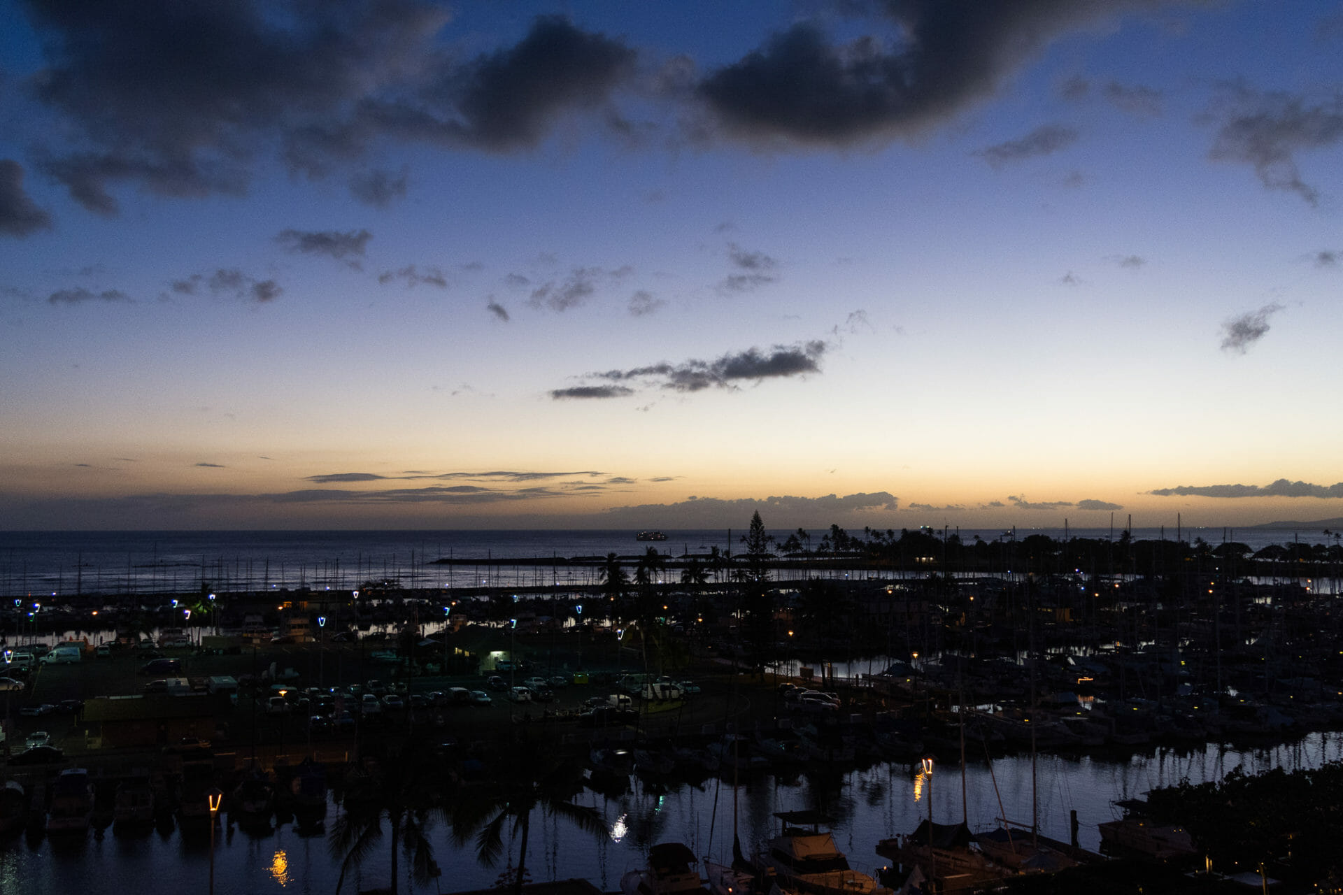 Ala Wai Harbor with sunset past