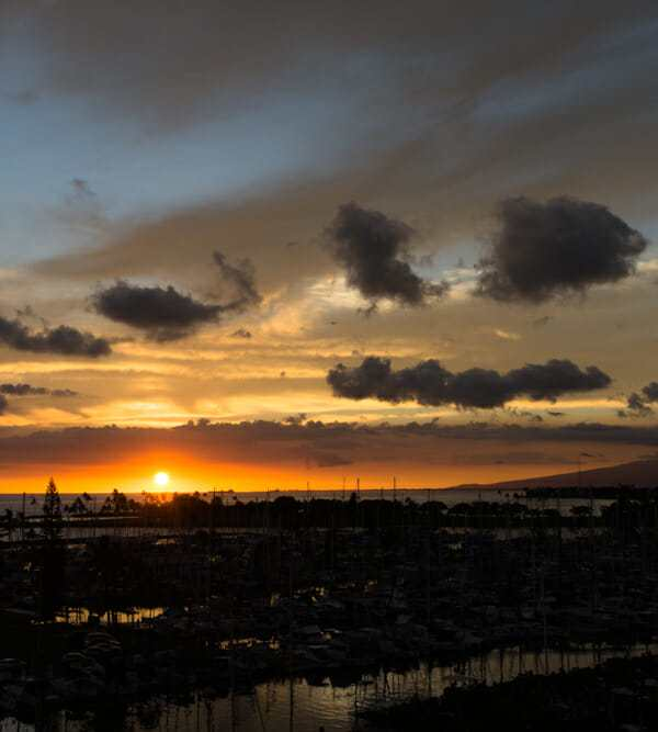 Fiery Oahu sunset near Ala Wai Harbor