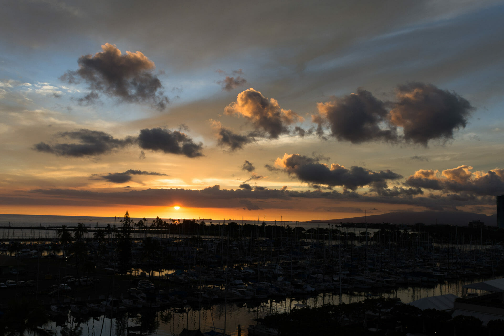 Oahu sunset with the harbor in foreground