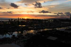 Ala Wai Harbor with sunset almost done.