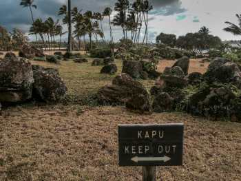 Hawaiian sacred area on Kauai at Lydgate Park