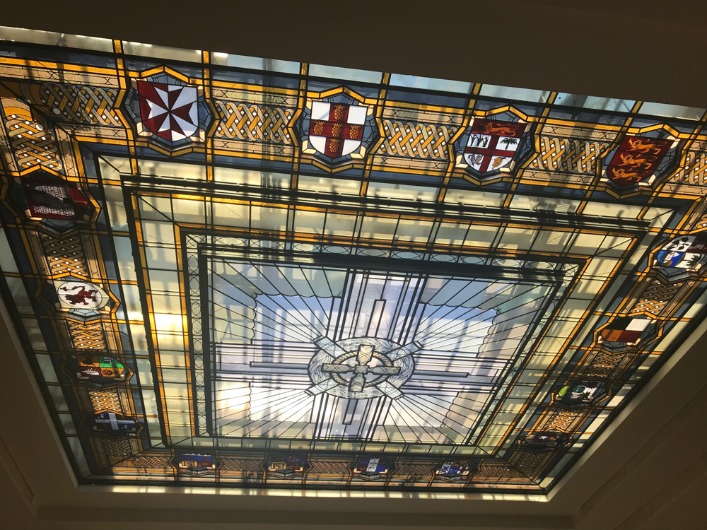 Stained glass ceiling at Auckland War Memorial