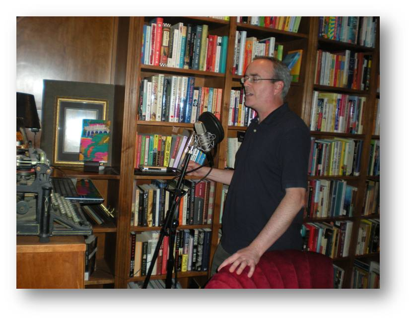 Terry Fallis recording his book for release as a podast — his recipe for publishing success.
