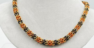 Chainmaille Necklace - Saxon Orange, Copper, Black