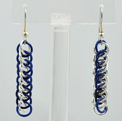 Chainmaille Earrings - Valhalla Blue and Silver
