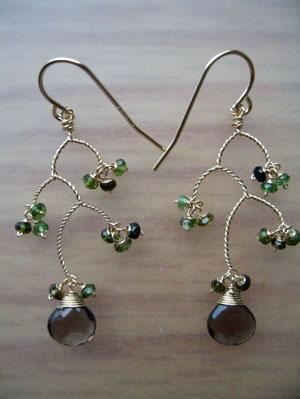 Chandelier Earrings – Smoky Quartz and Green Onyx