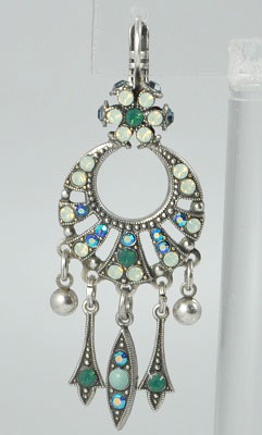 Turquoise, Green, Moonstone Crystal Chandelier Earring