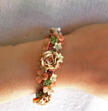 Victorian Salmon Rose Bracelet
