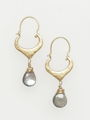 Hammered Heart with Hessonite Earrings
