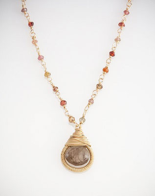 Teardrop Wrapped Gold Beaded Necklace