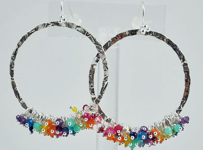 Large Hammered Hoop with Assorted Gemstones
