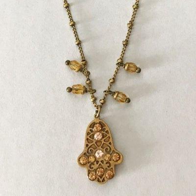 Pink Crystal Hamsa Necklace
