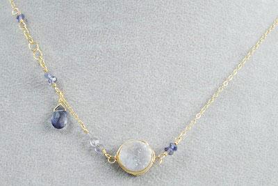 Purple Druzy Necklace with Iolite