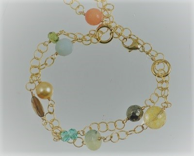 3 Strand Gold-filled Linked Bracelet with Gemstones