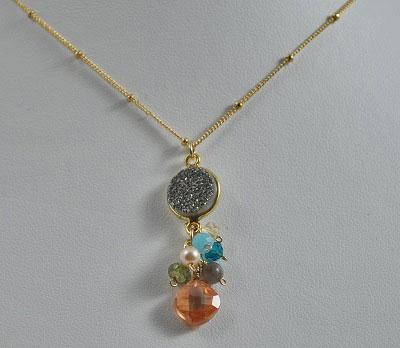 Bezel Druzy with Gemstones Necklace