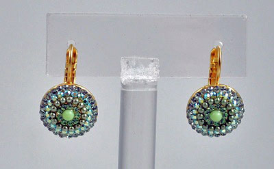 Circles of Green Crystals and Pearls Earrings