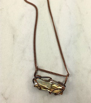 Bar Slide Necklace - Bronze-Champagne Stone
