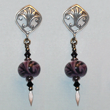 Violet and Black Glass Earrings