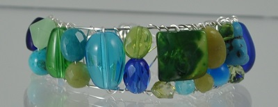Blue Green Gem Cuff with Magnetic Clasp