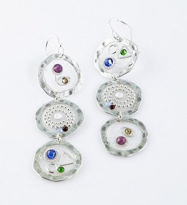 Three Circle Drop Ear with Crystals