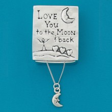 """""""To the Moon"""" Pewter Wish Box - Moon Necklace"""