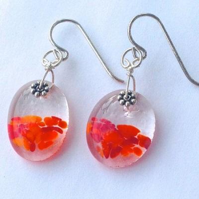 Poppy Oval Glass Earrings