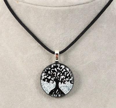 Round Tree of Life Dichroic Glass Pendants