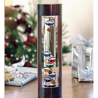 "18"" Multi Galileo Thermometer in Cherry Stand"