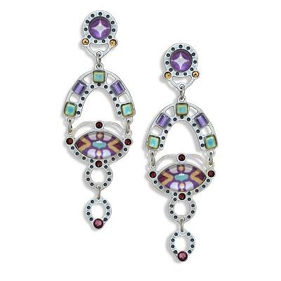 Yoolie Purple and Green Earrings