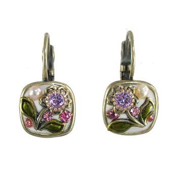 White Flower Small Square Earrings