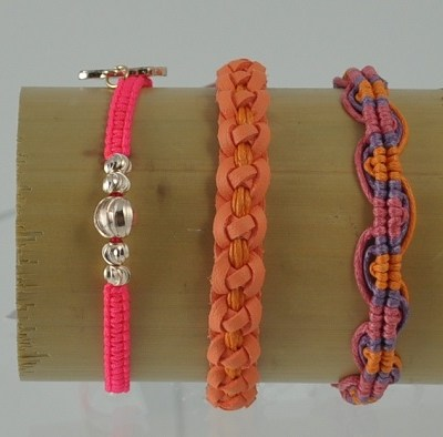 #1-Hot pink Woven Bracelet