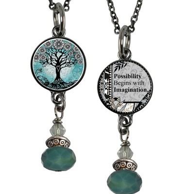 Tree of Life Turquoise Reversible Pendant