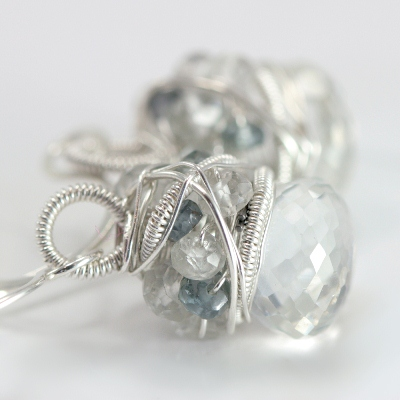 White Topaz and Sapphire Earrings