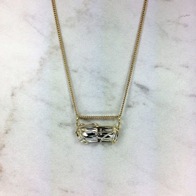 Bar Slide Necklace - Gold metal Clear Stone